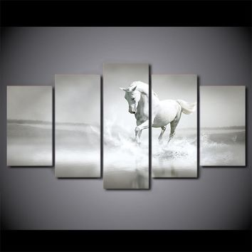 White horse running water galloping Canvas Wall Art Print on canvas room decor