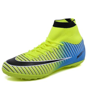LEOCI Kids High Ankle Football Boots Boys Girls Turf Sole Indoor Cleats Shoes Soccer Cleats voetbalschoenen chaussure de foot