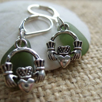 Scottish sea glass earrings with Claddagh, green or white sea glass paired with the symbol of love and friendship on silver plated earwires
