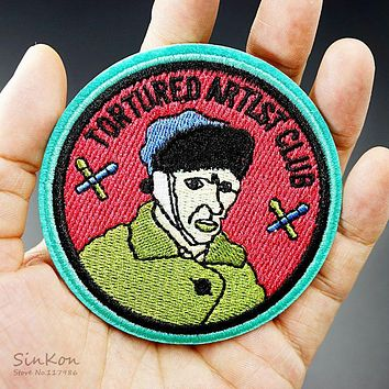 Van Gogh (Size:7.7x7.7cm) Badge Patch Embroidered Applique Sewing Clothes Stickers Garment Apparel Accessories Badges