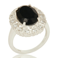 Natural Black Onyx And White Topaz Sterling Silver Gemstone Statement Ring