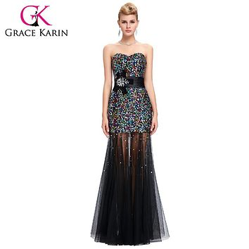 Grace Karin Colorful Sequins Black Mermaid Evening Dress 2017 Tulle Peacock Dress Formal Party Gowns vestido de festa longo 6026