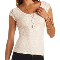 Ruched-Side Cap Sleeve Lace Tee by Charlotte Russe
