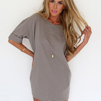 Gray Half Sleeve A-Line Chiffon Mini Dress