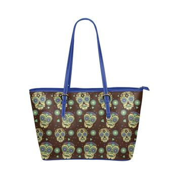 Hip Water Resistant Small Leather Tote Bags Sugar Skull #17 (5 colors)