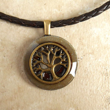Tree of Life Necklace: Rust - Mens Jewelry - Celtic Jewelry - Mens Necklace - Boyfriend Gift - Unique Jewelry - Tree Jewelry - Cord Necklace