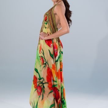 Parides Floral Maxi Dress - Luxury Resort Wear