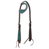 Carved Turquoise Flower 5/8'' One Ear Headstall - Headstalls - Training Tack - Western Tack - Tack