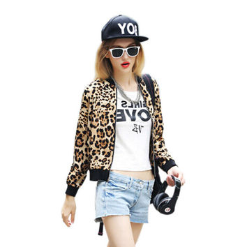 Leopard Print Jacket Women 2016Spring Autumn Basic Coats Baseball Jackets Zipper Bomber Jacket Girl Slim Thin Short Coat Outwear
