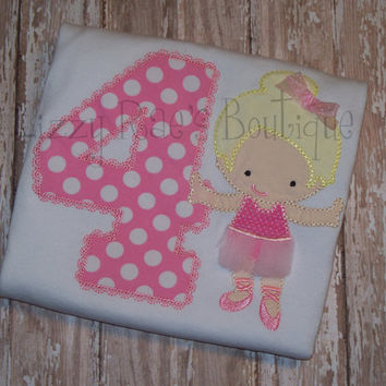 Ballerina applique shirt- Birthday applique shirt- Pink ballerina applique shirt