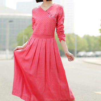 Romantic Watermelon Red  Long  Dress