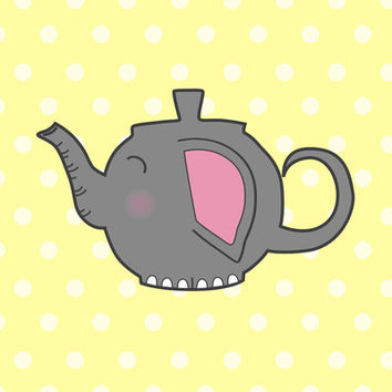 Elephant Teapot Art Print by KJ53321 | Society6