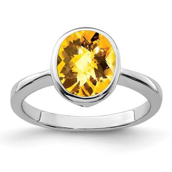 Sterling Silver Citrine Bezel Set Oval Ring