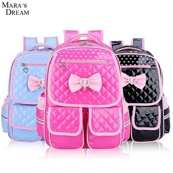 Mara's Dream Children School Backpacks 2017 Cute Candy Color Bow Double Zippers and Pocket Dots Print Kids Shoulder School bags