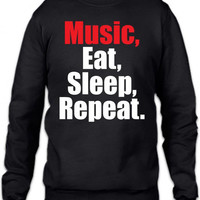 music eat sleep repeat 1 Crewneck Sweatshirt