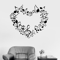 Vinyl Wall Decal Music Lover Musical Heart Great Room Decoration Sticker (ig3057)