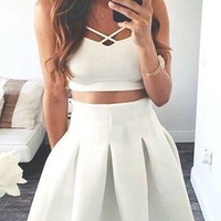 White Two Pieces Homecoming Dress, Strapless Simple Summer Homecoming Dress
