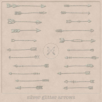 Hand Drawn Silver Glitter Arrows Clipart (A set of 22).Use them for scrapbooking graphic design or make logos from this tribal arrow clipart