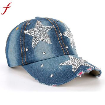 Denim Snapback Caps Hot Sale Women Men Stars Rhinestone Baseball Cap Snapback Hip Hop Hat gorras hombre deportivas