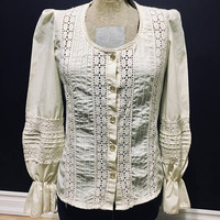 Vintage Cream Blouse, Lace, Puff Sleeve, Size 7, Small Blouse, Antique Alchemy