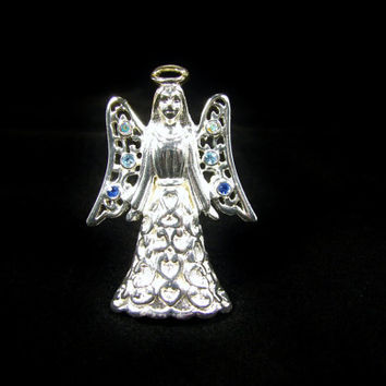 Vintage TRIFARI Christmas Angel Brooch, AB Rhinestones, Silver Color, Trifari Jewelry, Rhinestone Pin, Christmas Jewelry