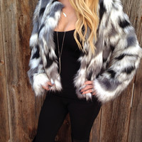 Two Tone Faux Fur Jacket - FINAL SALE