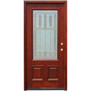 Pacific Entries, Traditional 3/4 Lite Stained Mahogany Wood Entry Door, M62DBML at The Home Depot - Tablet