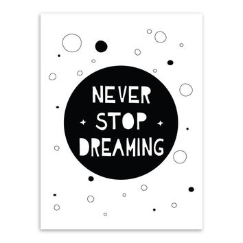 Modern Black White Motivational Typography Dream Quotes Art Print Poster Wall Picture Kids Room Home Decor Painting No Frame