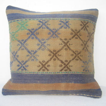 Handmade Embroidery Denim Blue Turkish Kilim Pillow, Decorative Kilim Pillow, Vintage Pillow Throw 40 x 40