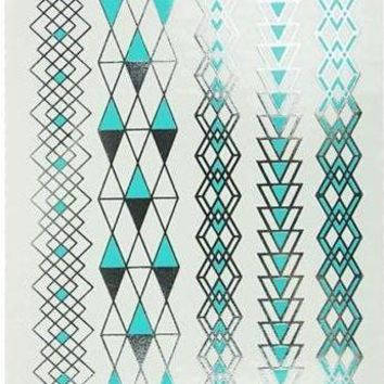 Turquoise and Silver Temporary Metallic Tattoo