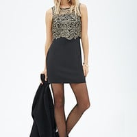 LOVE 21 Crochet Lace Combo Dress Black/Gold