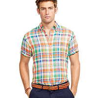 Polo Ralph Lauren Short-Sleeved Plaid Linen Shirt - Blue/Green