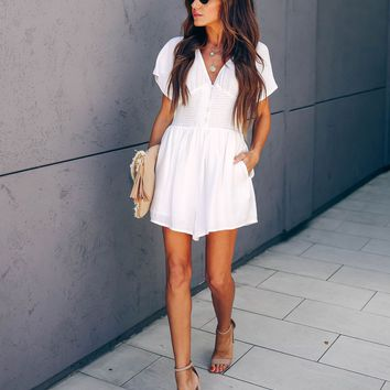 Paramour Smocked Button Down Pocketed Romper - White