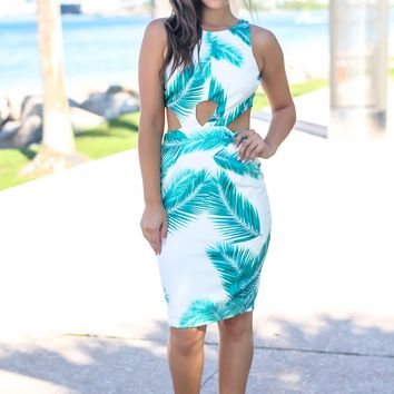 White Leaf Print Short Dress with Side Cut Outs
