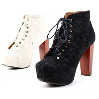 Chunky Heel Lace Ankle Boot
