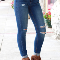 Mid-Rise Distressed Skinny Jeans {Dark Wash}