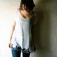 Sheer Silk Blouse - Short sleeved tshirt in white chiffon - see through tunic dress