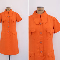 1960s Dress - Vintage 60s Mod Orange Dress - Morella Dress