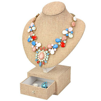 Beige Linen & Wood Jewelry Bust Necklace Hanger Display Stand w/ Storage Drawer Box - MyGift®