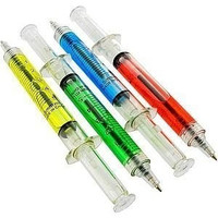 Lot Of 12 Assorted Color Syringe Shot Design Pens (Color: Multicolor) = 1930028548