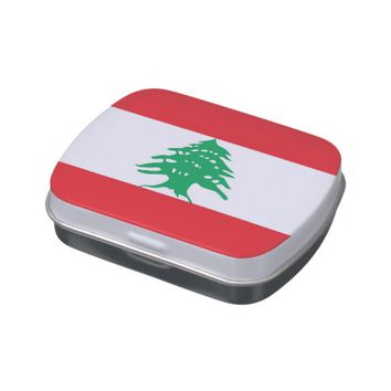 Patriotic candy tins with Flag of Lebanon