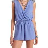 Bejeweled Cap Sleeve Chiffon Wrap Romper by Charlotte Russe - Blue