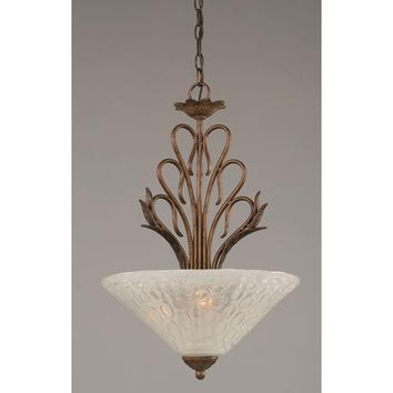 Toltec Lighting 204-BRZ-411 Swan Bronze Three-Light Bowl Pendant with Italian Bubble Glass Shade