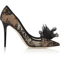 Jimmy Choo - Duchesse suede-trimmed lace pumps