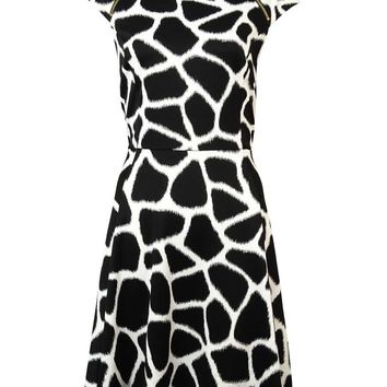 MICHAEL Michael Kors Women's Zip-Trim Giraffe Ponte Dress