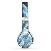 The Abstract Blue Overlay Shapes Skin Set for the Beats by Dre Solo 2 Wireless Headphones