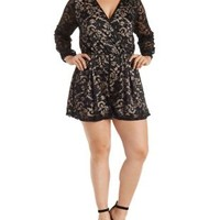 Plus Size Black Combo Lace Long Sleeve Wrap Romper by Charlotte Russe