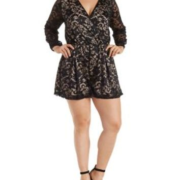 plus size black combo lace long sleeve from charlotte russe