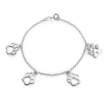 Dog Cat Puppy Paw Print Pet Love Chain Charm Bracelet Sterling Silver