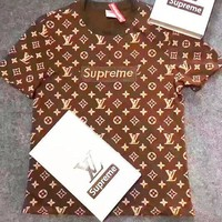 SUPREME LV T-SHIRT TOP TEE BROWN H-A-XYCL